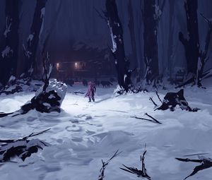 Превью обои силуэт, одиночество, волки, лес, снег, зима, арт