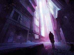 Превью обои силуэт, одиночество, здания, подсветка, фиолетовый, темный