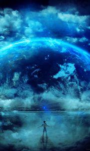 Превью обои силуэт, планета, звезды, арт, фантастический