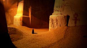 Превью обои силуэт, плащ, руины, песок, египет, арт