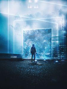Превью обои силуэт, портал, свет, яркий, иллюзия