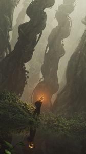 Превью обои силуэт, призрак, свечение, лес, фэнтези