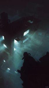 Превью обои силуэт, противогаз, здание, ночь, апокалипсис, темный