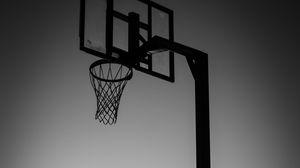 Превью обои силуэт, прыжок, мяч, баскетбол, спорт, черно-белый