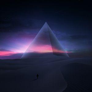 Превью обои силуэт, пустыня, пирамида, звездное небо, звезды