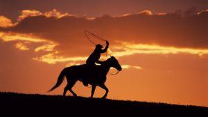 Превью обои силуэт, вечер, наездник, лошадь, закат