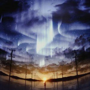 Превью обои силуэт, звездное небо, столбы, горизонт, небо, арт