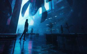 Превью обои силуэты, киты, фантастика, темный, синий