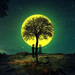 Превью обои силуэты, любовь, дерево, ночь