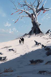Превью обои силуэты, путешественник, холм, деревья, снег, арт