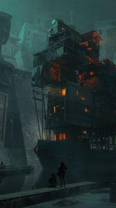 Превью обои силуэты, здание, архитектура, фантастика, темный