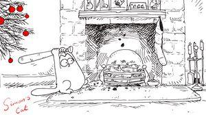 Превью обои simons cat, кот саймона, мульт, новый год, камин