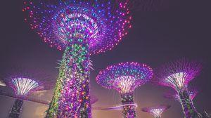 Превью обои сингапур, искусственные деревья, освещение, украшение, город