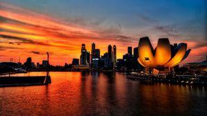 Превью обои сингапур, небо, закат, свет