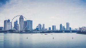 Превью обои сингапур, небоскребы, берег, колесо обозрения