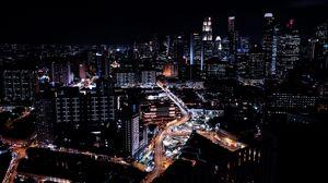 Превью обои сингапур, небоскребы, ночь, ночной город