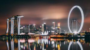 Превью обои сингапур, небоскребы, здания, берег, ночь
