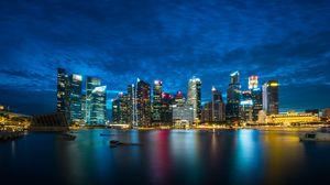 Превью обои сингапур, ночной город, небоскребы, панорама