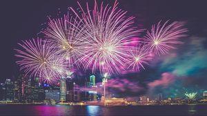 Превью обои сингапур, салют, небоскребы, мегаполис