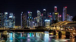 Превью обои сингапур, световое шоу, ночь, небоскребы