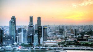 Превью обои сингапур, закат, небоскребы, hdr