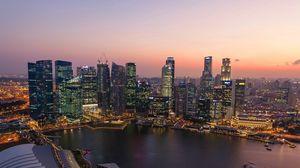Превью обои сингапур, закат, река, здания, небоскребы
