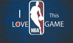 Превью обои синий, nba, фон, баскетбол, логотип