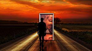 Превью обои сюрреализм, человек, дверь, воображение