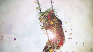 Превью обои сюрреализм, качели, цветы, листья, воображение, арт