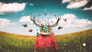 Превью обои сюрреализм, космонавт, арт, воображение, олень, рога, поле