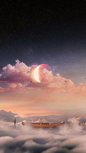 Превью обои сюрреализм, лодка, облака, одинокий, человек, звездное небо