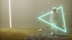 Превью обои скафандр, космонавт, треугольник, неон, гравитация
