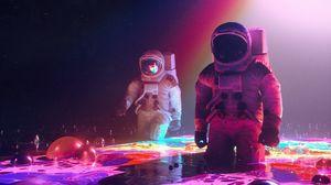 Превью обои скафандр, космонавты, космическое пространство, арт