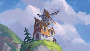 Превью обои скала, домик, мельница, пейзаж, арт