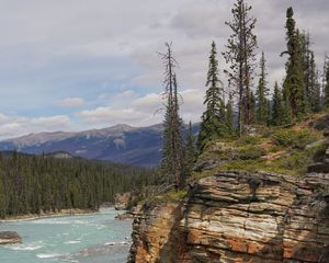 Превью обои скала, обрыв, деревья, река, пейзаж, природа