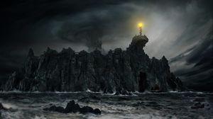 Превью обои скала, шторм, корабль, мрак, фэнтези, арт