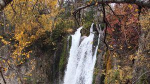 Превью обои скала, водопад, вода, ветки, деревья, природа