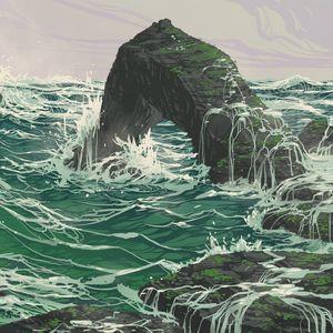 Превью обои скала, волны, море, арт, вектор