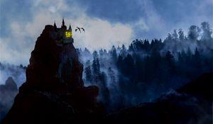 Превью обои скала, замок, дракон, туман, лес