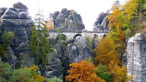Превью обои скалы, деревья, мост, пейзаж
