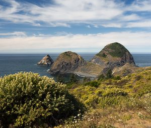Превью обои скалы, море, пейзаж, природа