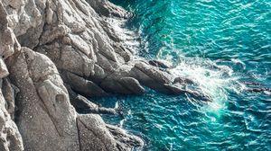 Превью обои скалы, море, прибой, волны