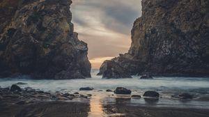 Превью обои скалы, океан, прибой, камни, берег