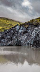 Превью обои скалы, озеро, облака, природа, пейзаж