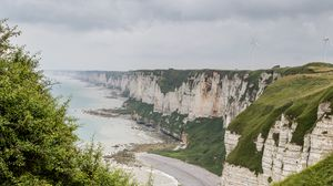 Превью обои обрыв, скалы, побережье, море, пейзаж