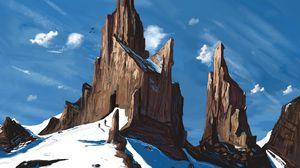 Превью обои скалы, силуэты, путешествие, снег, зима, арт