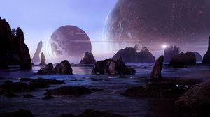 Превью обои скалы, вода, планеты, пейзаж, 3d