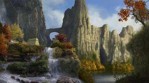 Превью обои скалы, водопад, небо, природа, деревья