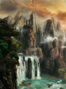 Превью обои скалы, водопад, туман, природа