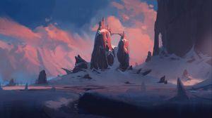 Превью обои скалы, замок, зима, пейзаж